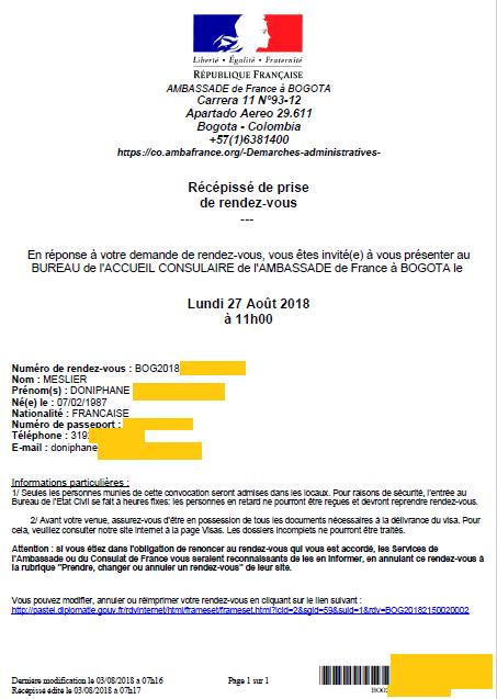 nouveau passeport francais en Colombie convocation ambassade de France