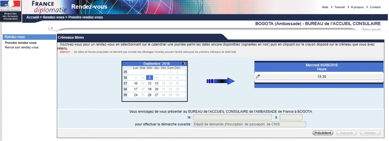 consulat de France Bogotá rendez-vous passeport