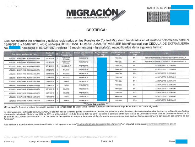 Migration colombienne registre entrées/sorties du territoire