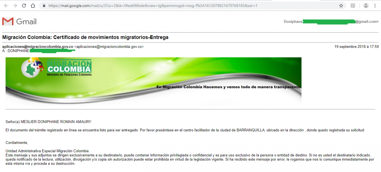 information mail migration Colombie