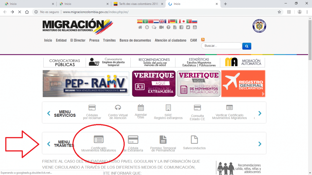 aperçu site de la migration colombienne