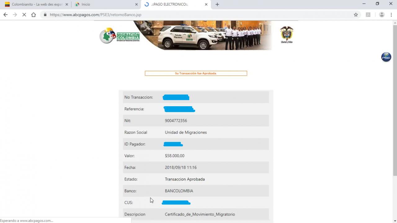 reçu transaction migration colombienne