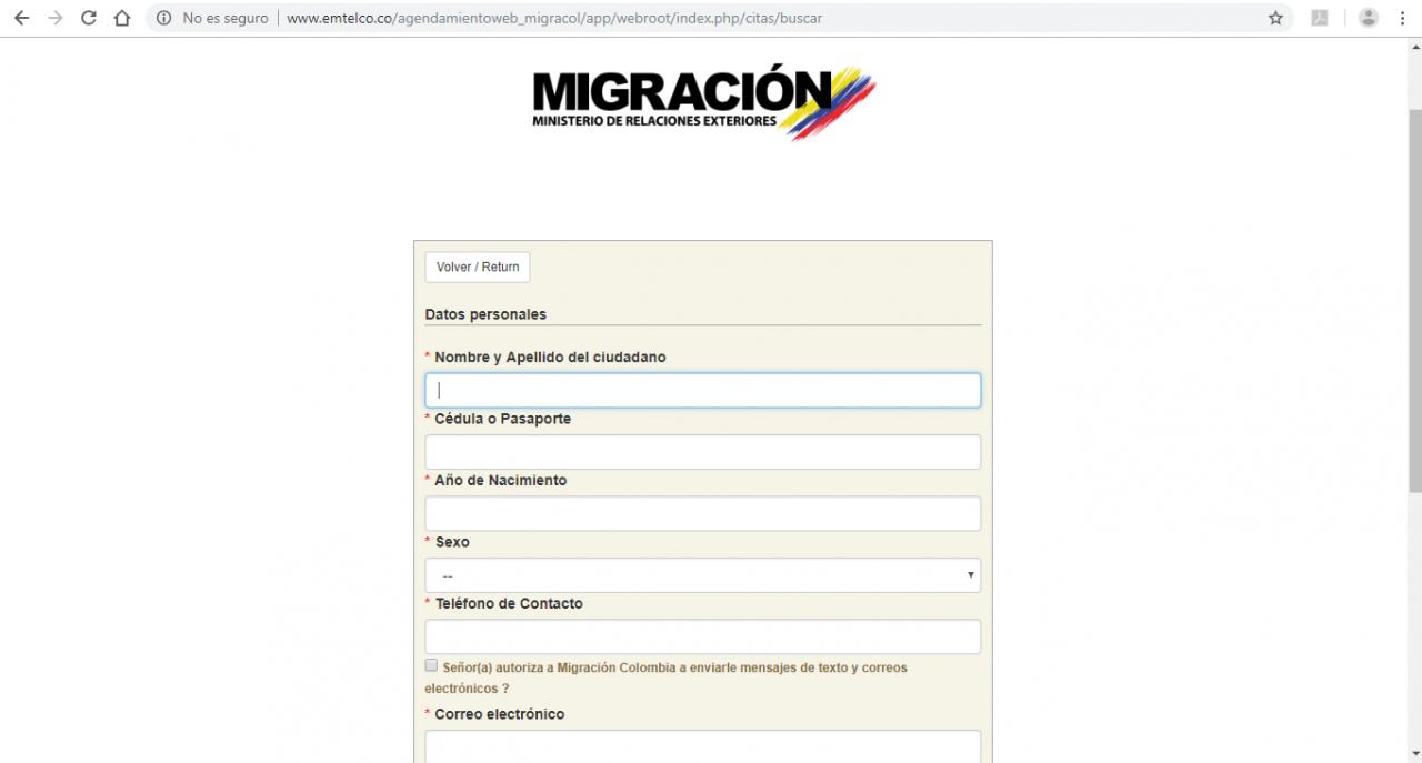 prise de rendez-vous migration Colombie
