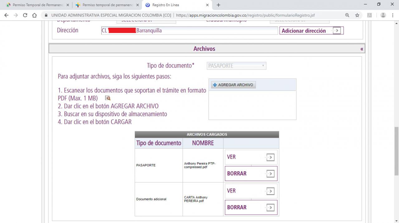 Documents à envoyer pour la prolongation du PIP/PTP colombien