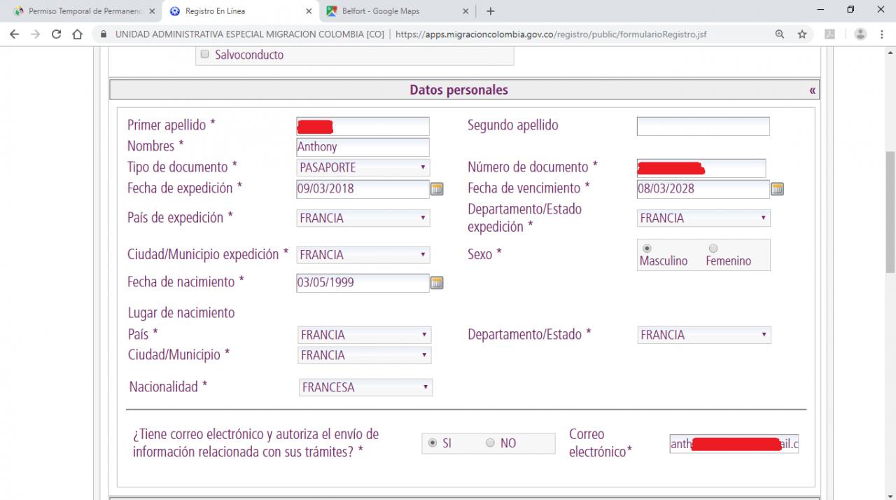 Formulaire PTP prolongation du permis PIP en Colombie