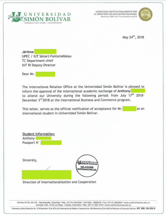 Exemple mail d'invitation étudiant en Colombie PIP 2