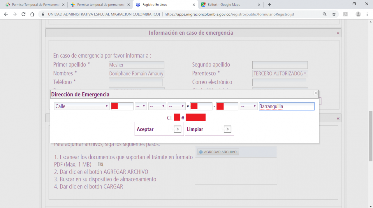 Adresse du contact d'urgence en Colombie