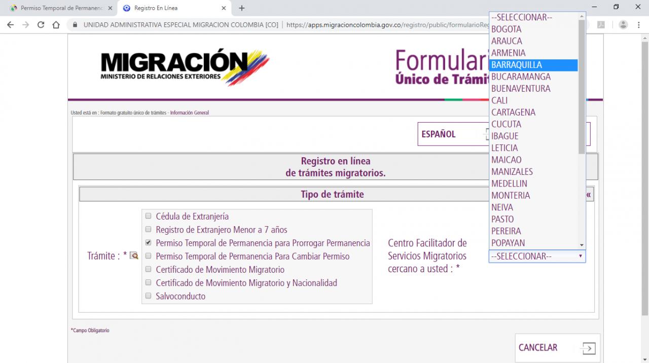 sélection poste migratoire colombien