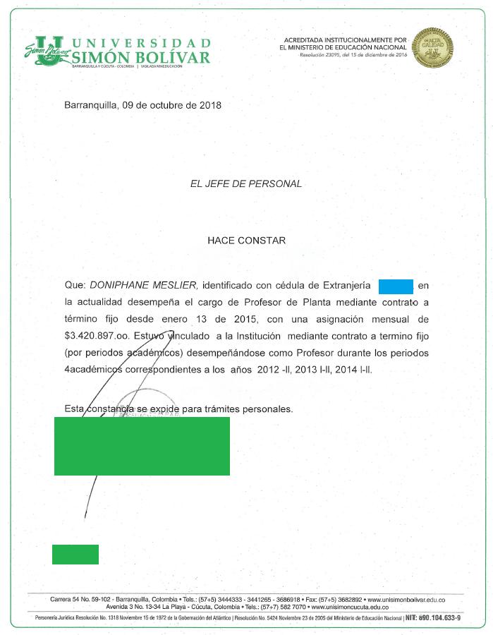 lettre justificative visa R Colombie