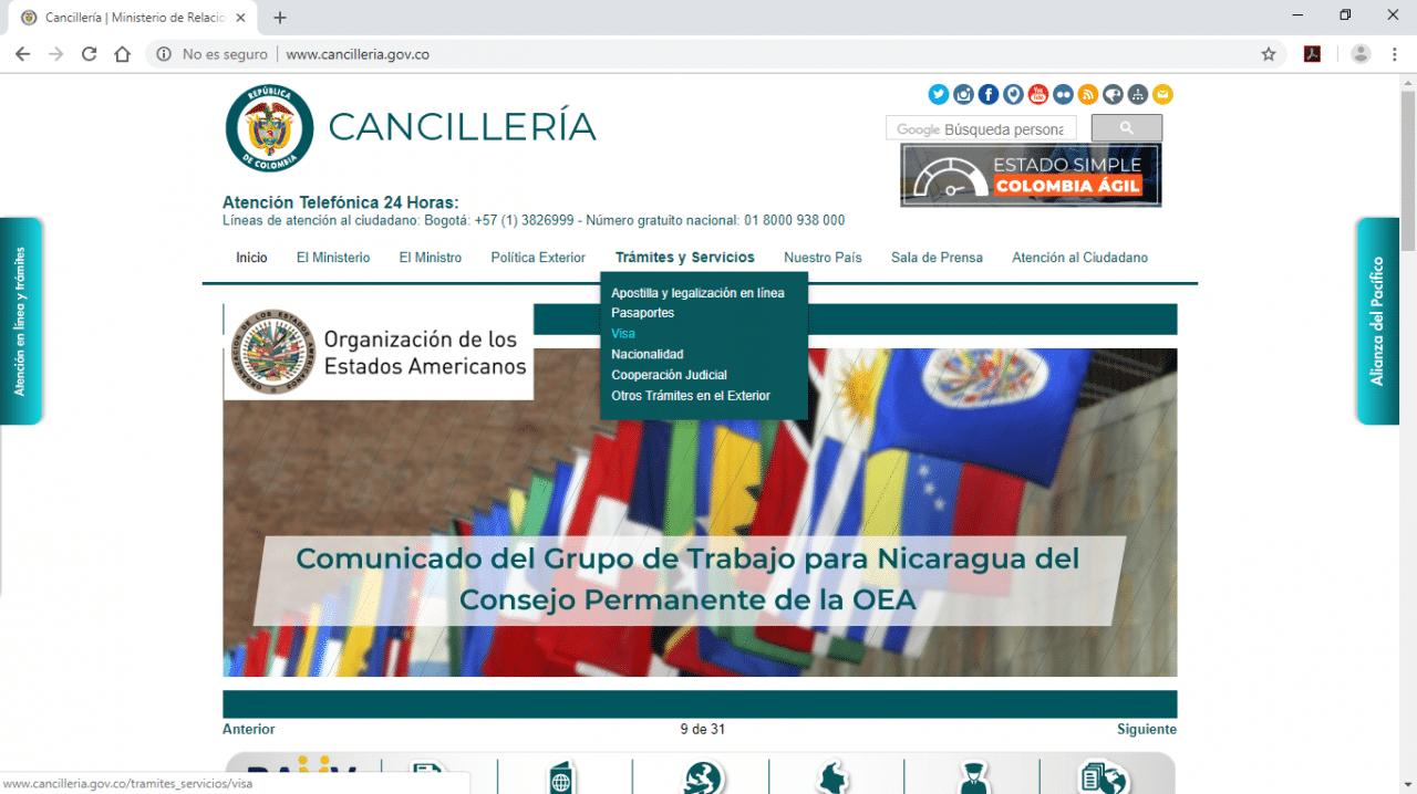 capture d'écran migration colombienne visa R