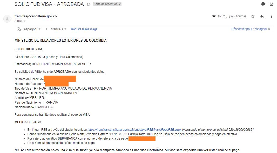 mail de confirmation payement visa R Colombie