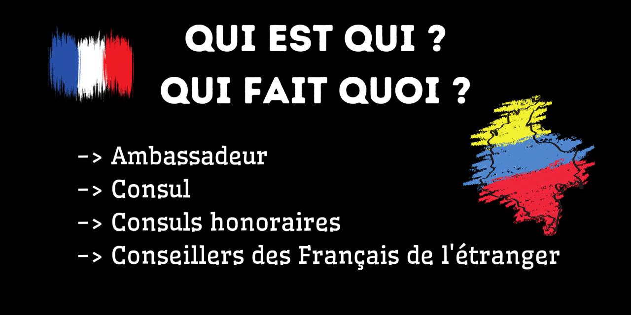 Ambassadeur, consul, consuls honoraires, conseillers des Français de Colombie : qui est qui, qui fait quoi ?